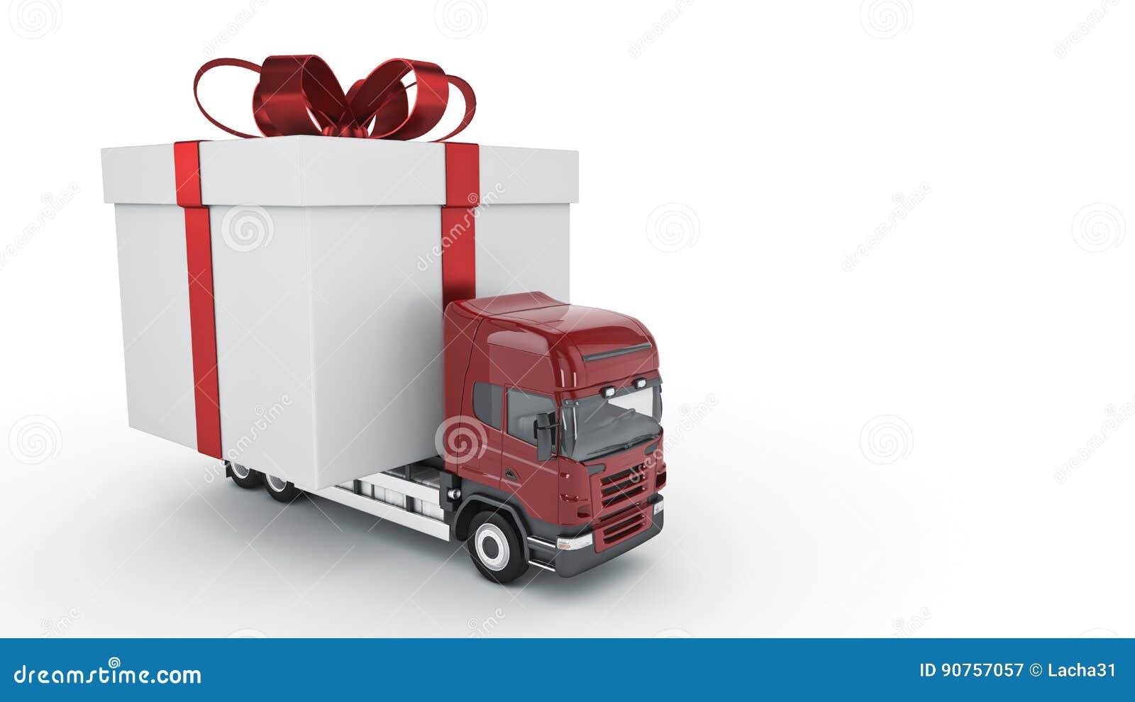 Présente le concept de service de distribution, camion avec un boîte-cadeau