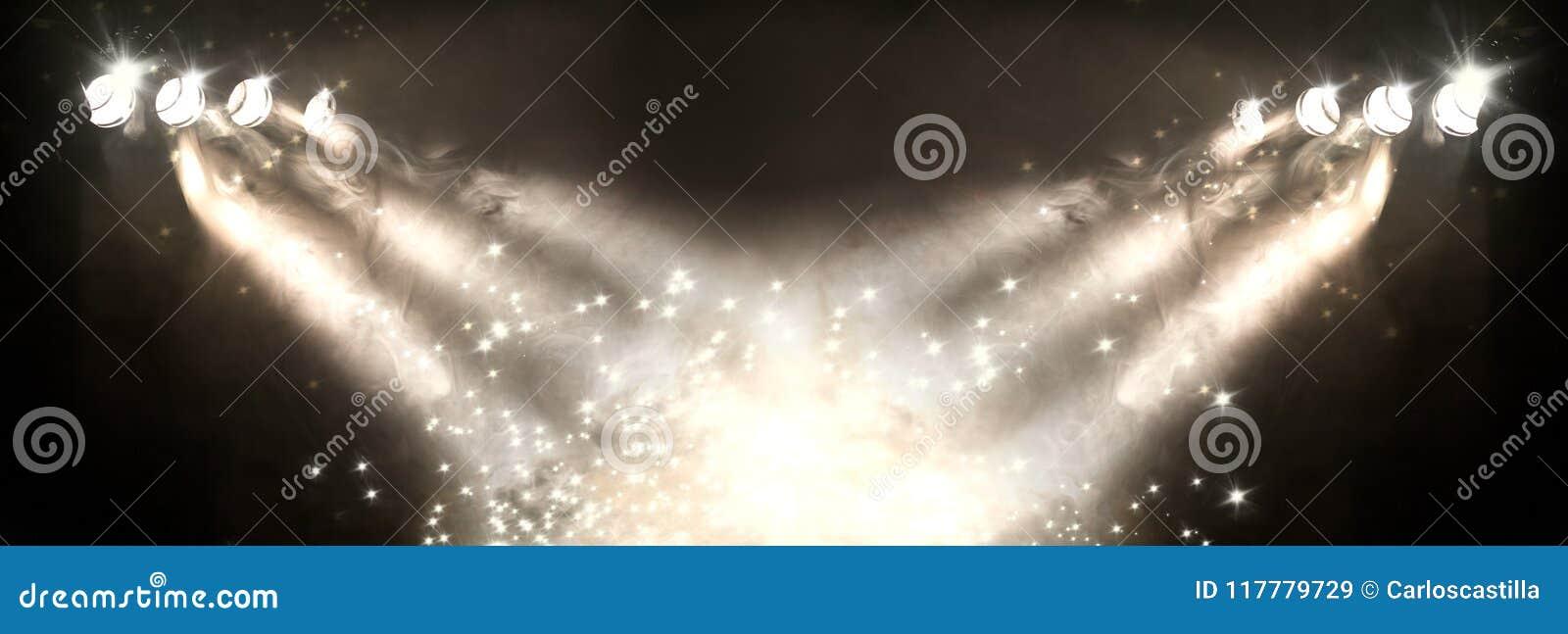 Présentez les lumières et le brouillard ou brumeux dans l obscurité