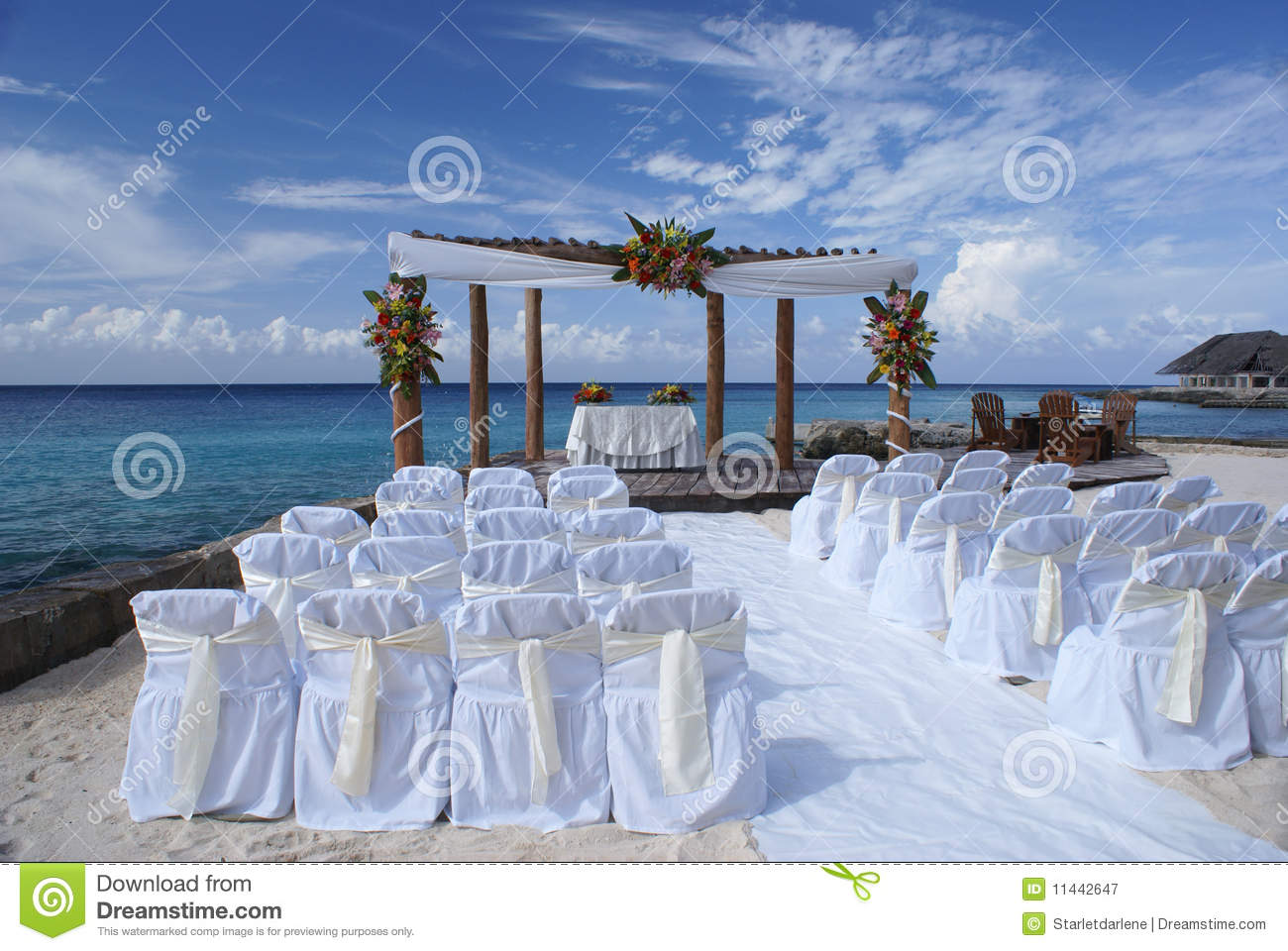 pr sidences de mariage sur la plage photographie stock libre de droits image 11442647. Black Bedroom Furniture Sets. Home Design Ideas