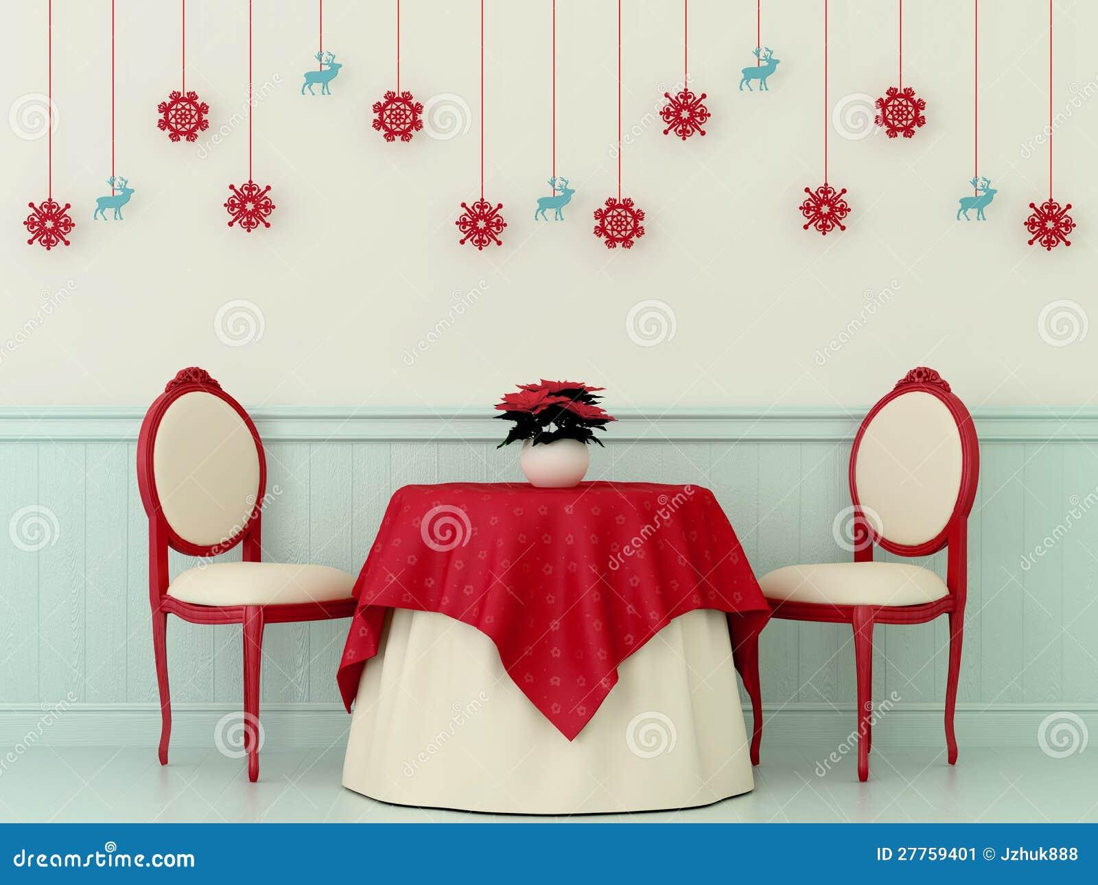 Présidences et une table avec des décorations de Noël