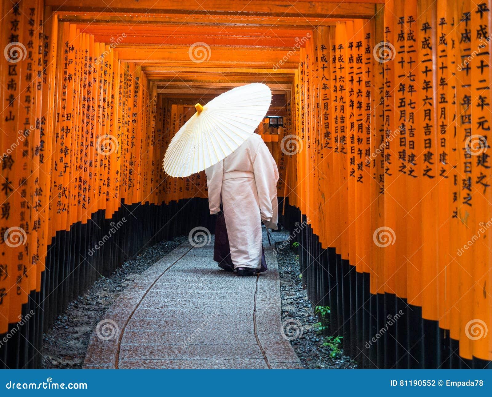 Prêtre de Shinto dans le tombeau de Fushimi-Inari-Taisha