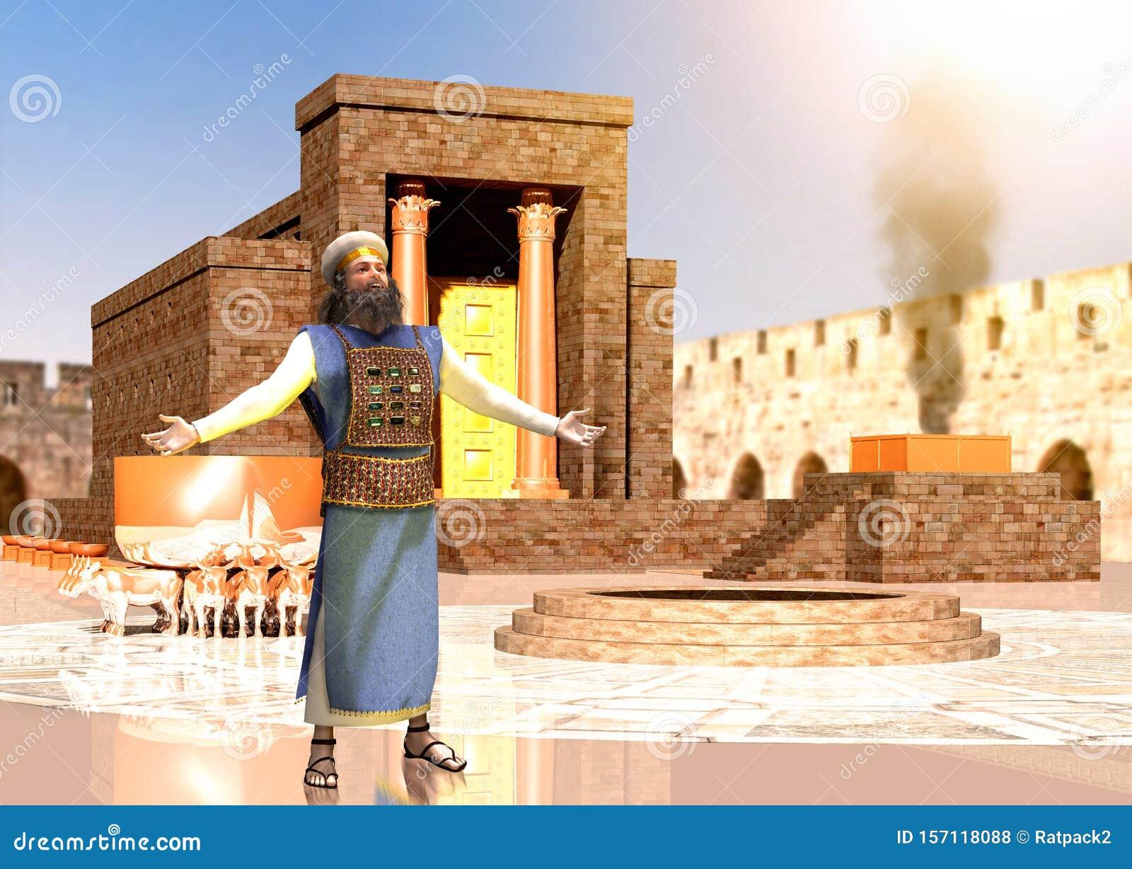 Prêtre juif biblique devant le temple du roi Salomon