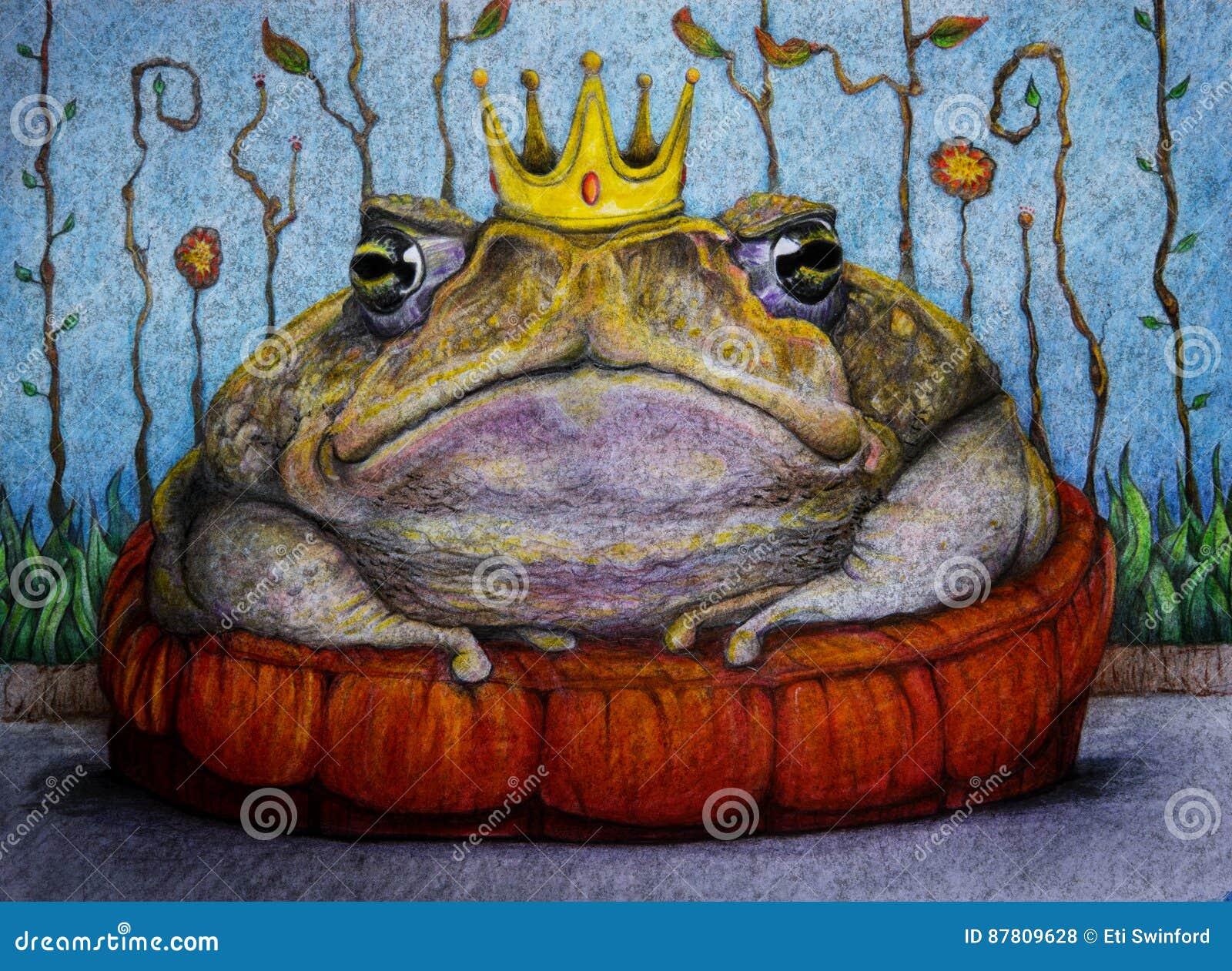Príncipe de la rana con el dibujo de la corona