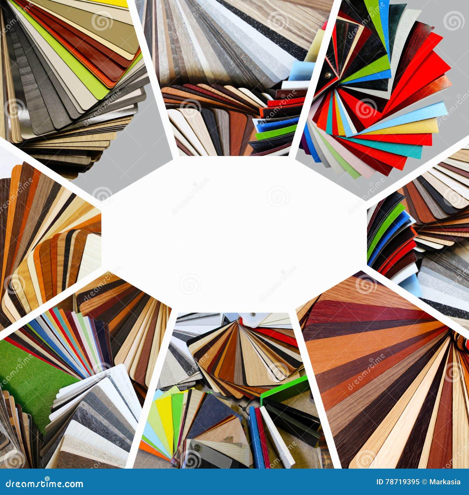 Prövkopior av färg av countertops och particleboard