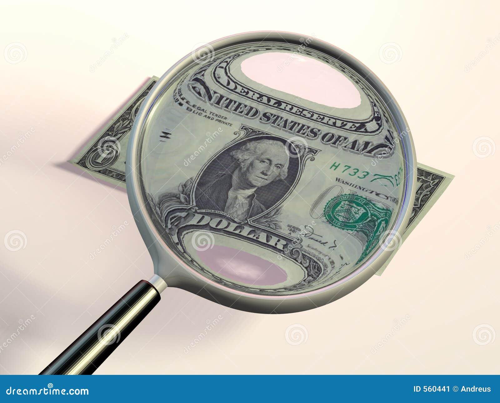 Prüfung eines Dollars