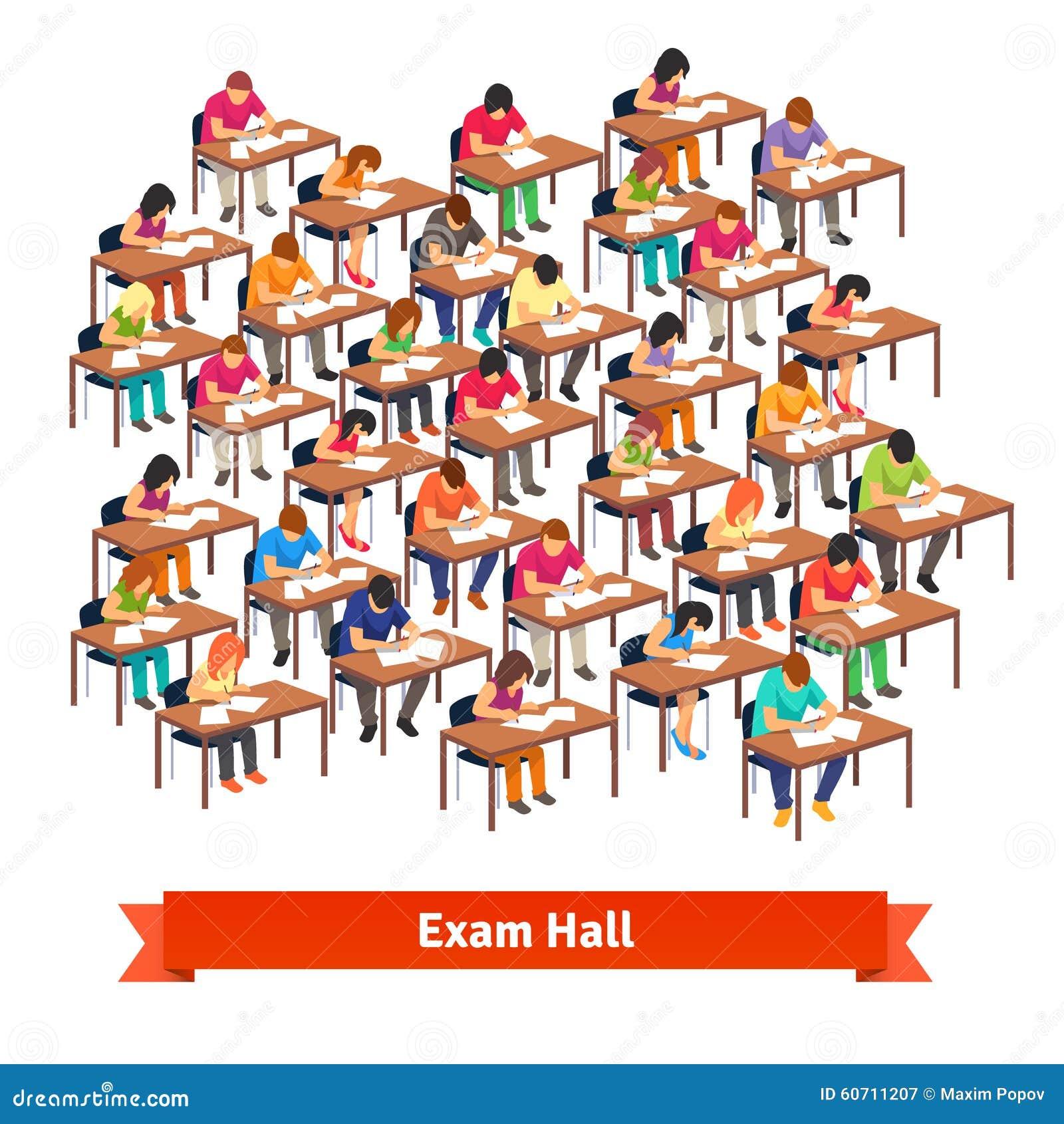 Prüfungsklassenzimmer Voll Von Den Studenten, Die Einen Test ...