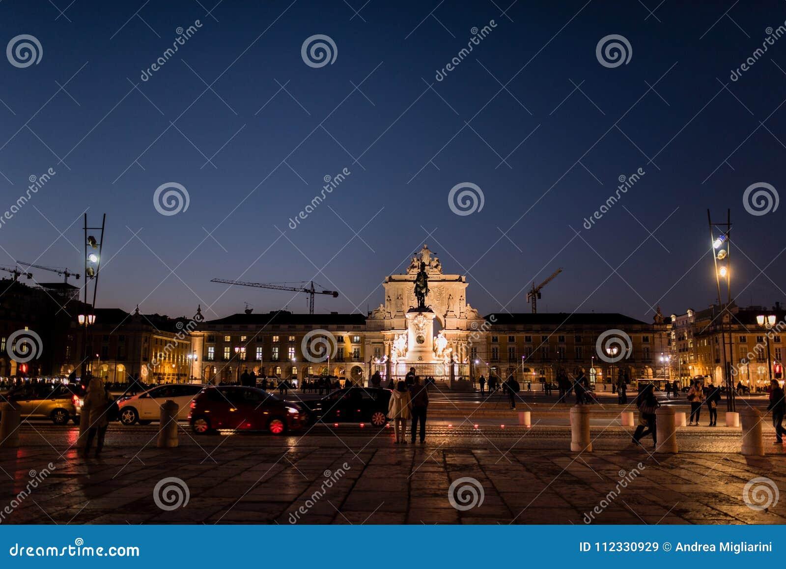 Praça gör Comércio, viktig fyrkant av Lissabon, Portugal, natt