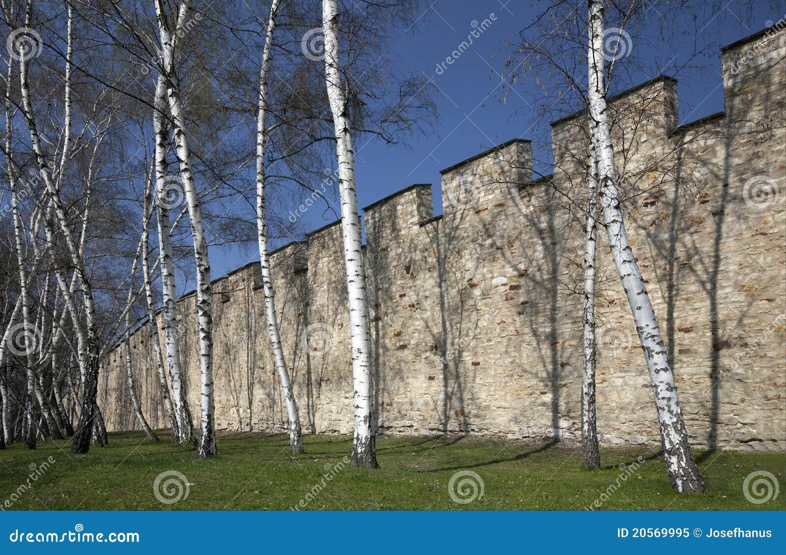 Praag - de Muur van de Honger bij Heuvel Petrin
