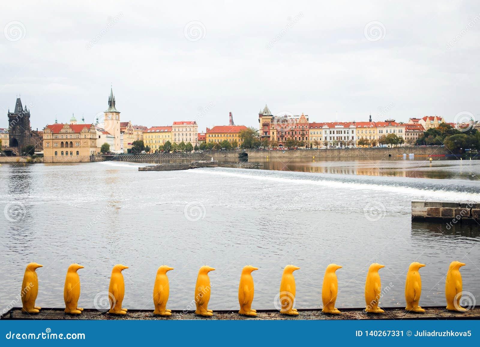 Praag, Tsjechische Republiek - cijfers van gele pinguïnen op de dijk van de Vltava-Rivier die de oude stad overzien