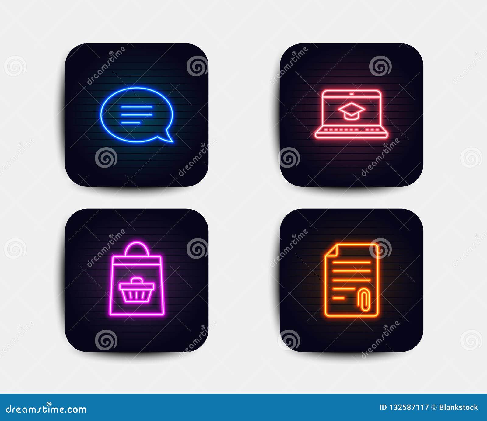 Praatje, Websiteonderwijs en Online het kopen pictogrammen Gehechtheidsteken Toespraakbel, het Video leren, Boodschappenwagentje