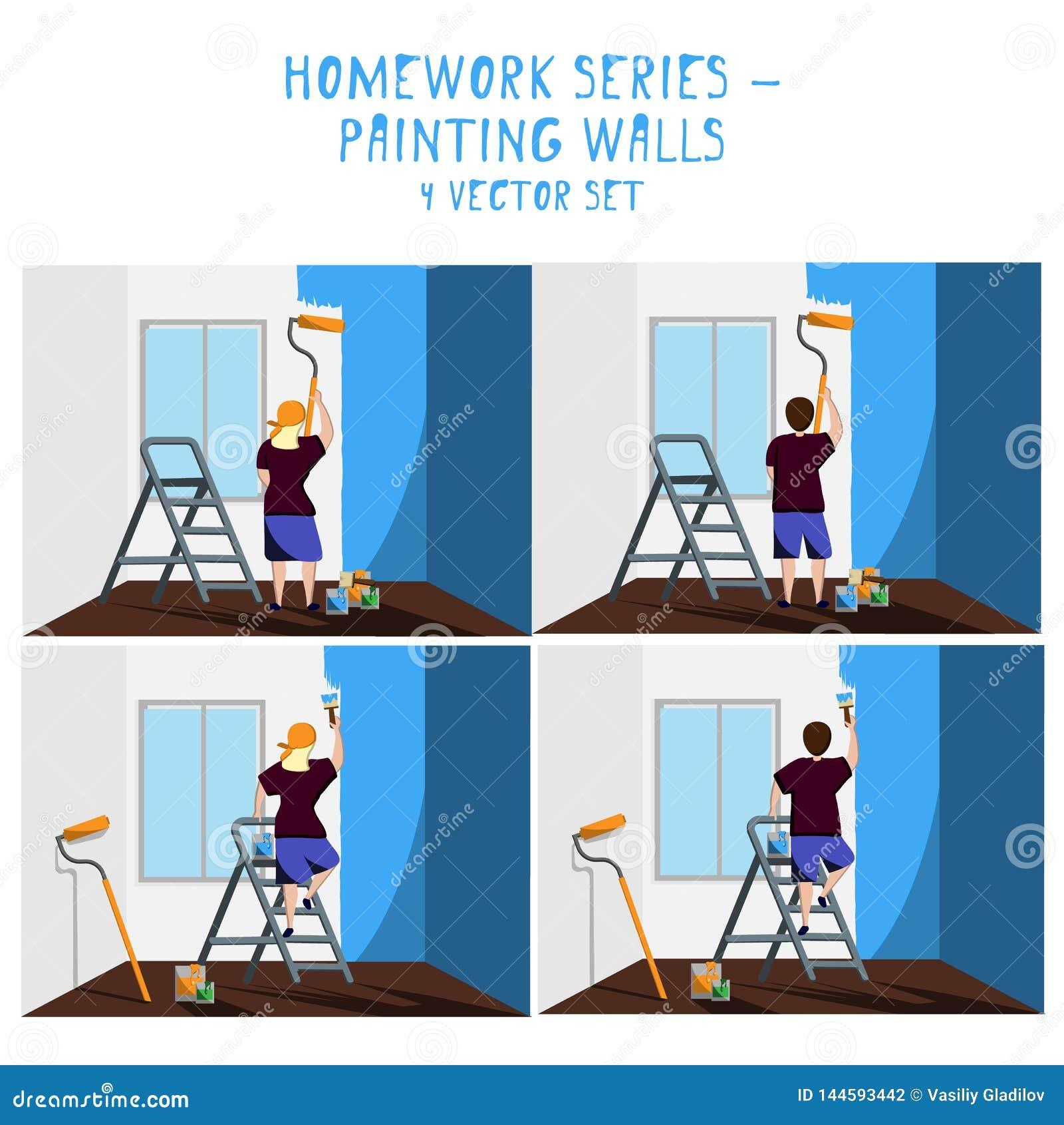 Praca domowa - odmalowanie ściany przy błękitem