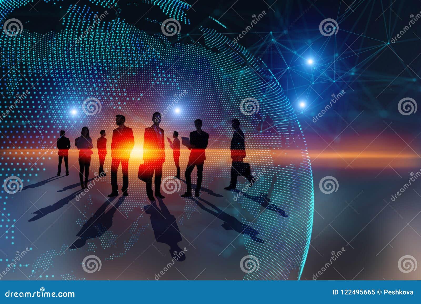 Praca zespołowa, globalny biznes i środka pojęcie,