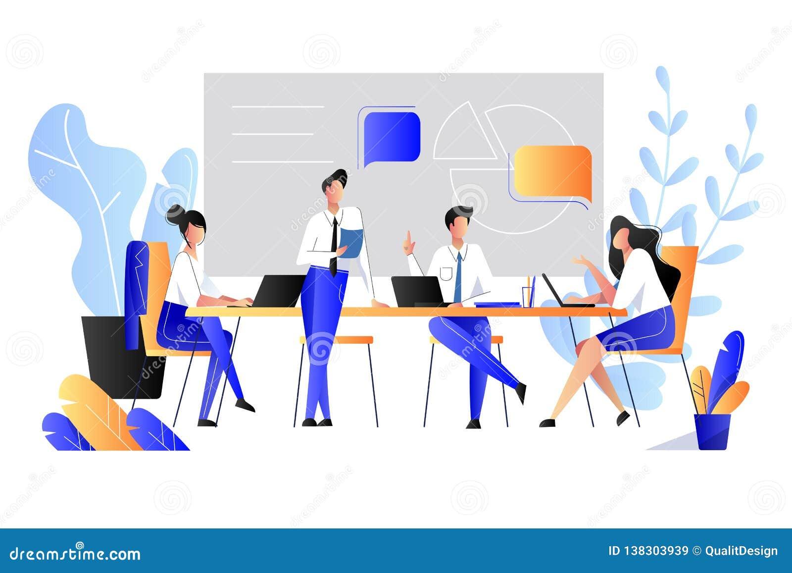 Praca zespołowa, współpraca, partnerstwa pojęcie Wektorowa mieszkanie stylu ilustracja Ludzie biznesu brainstorming w biurze