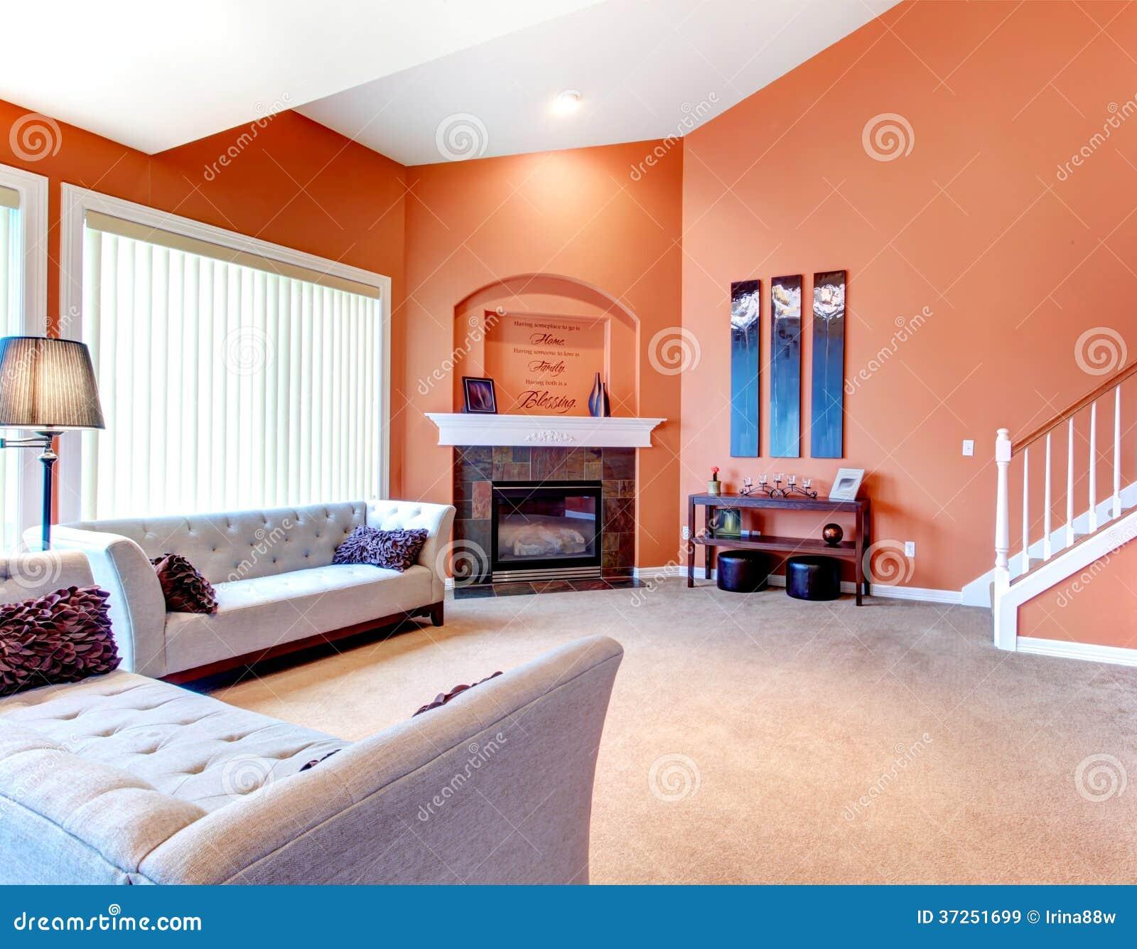 Prachtige oranje woonkamer met grijze klassieke bank, gestenigd ...