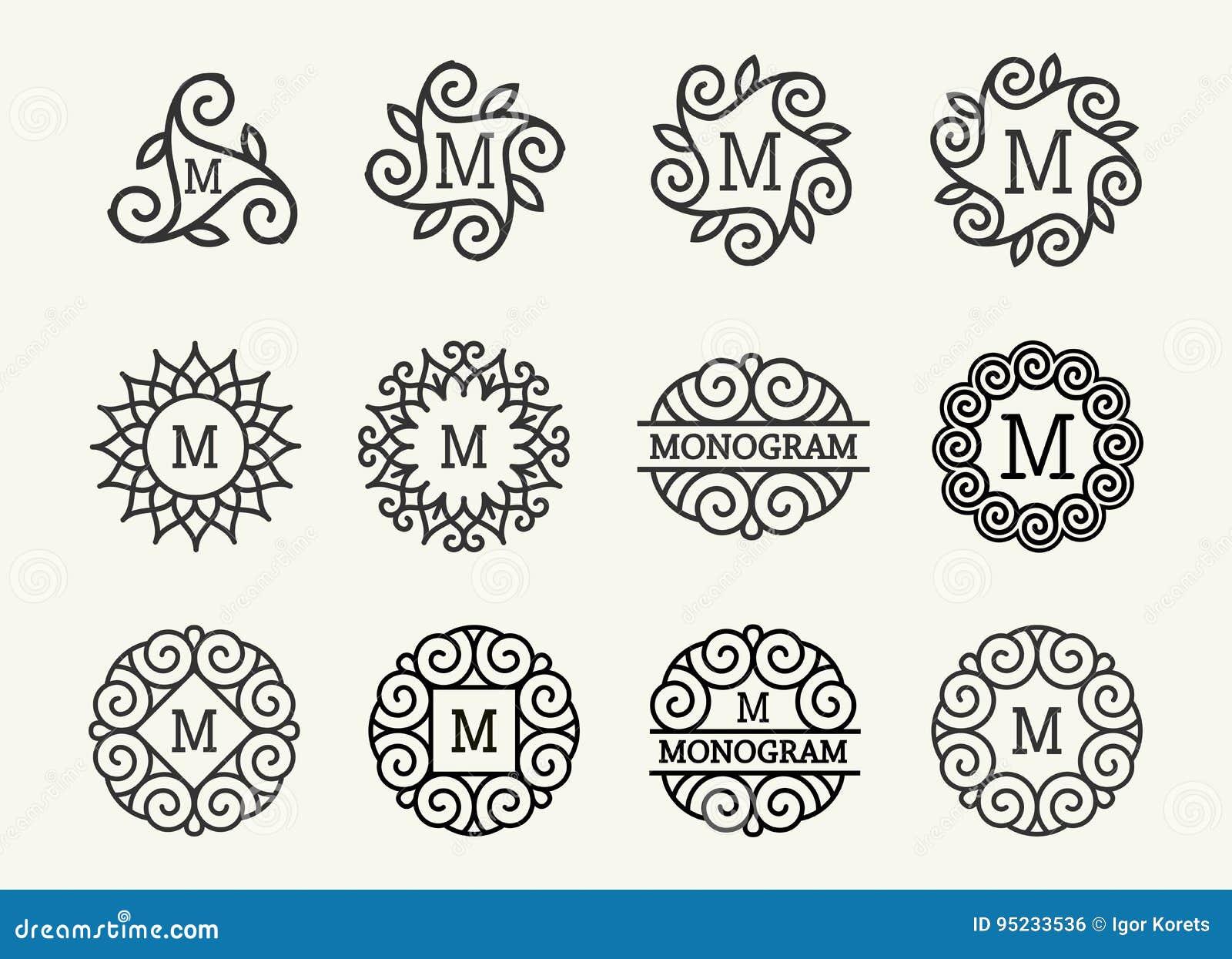 Prachtige reeks, stijljugendstil Rond Elegant Lijn Art Logo, van Emdlem en van het Monogram Ontwerp, vectormalplaatje