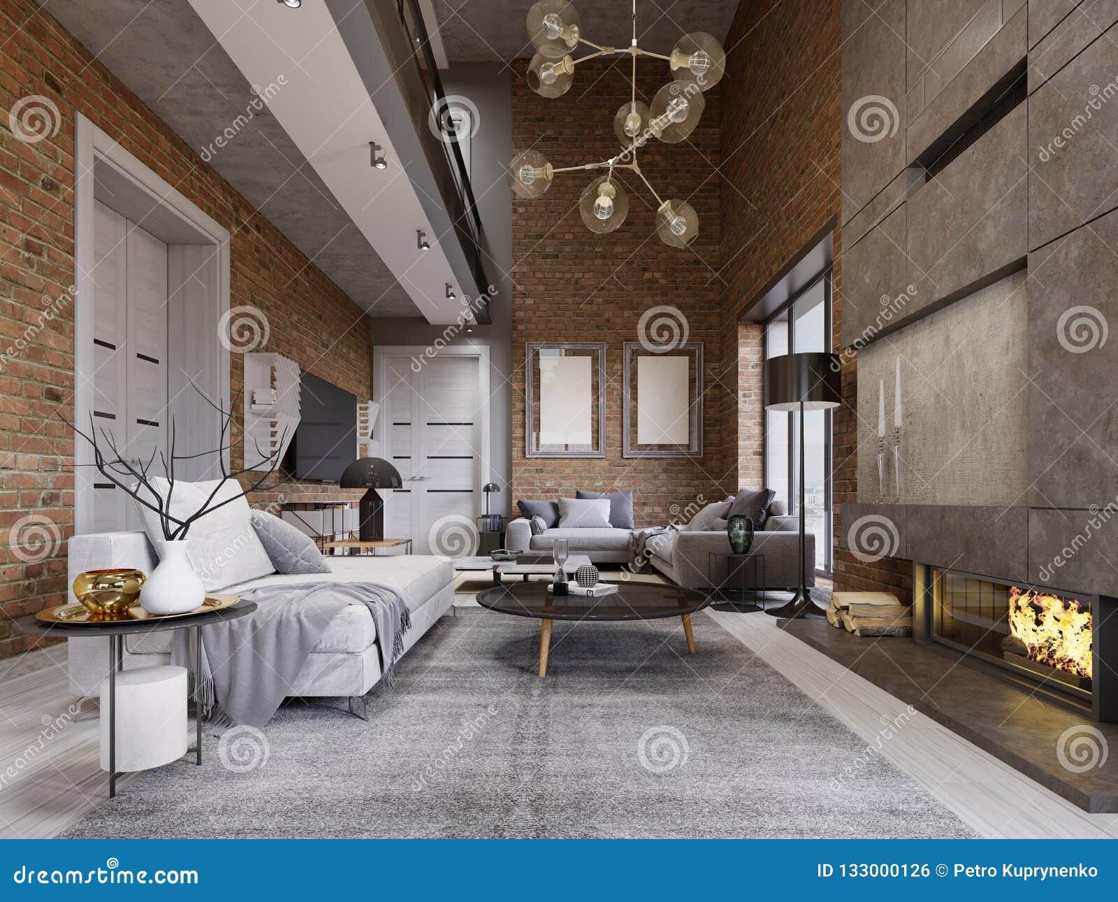 Pracowniany mieszkanie z ścianą z cegieł, graba i nowożytny meble