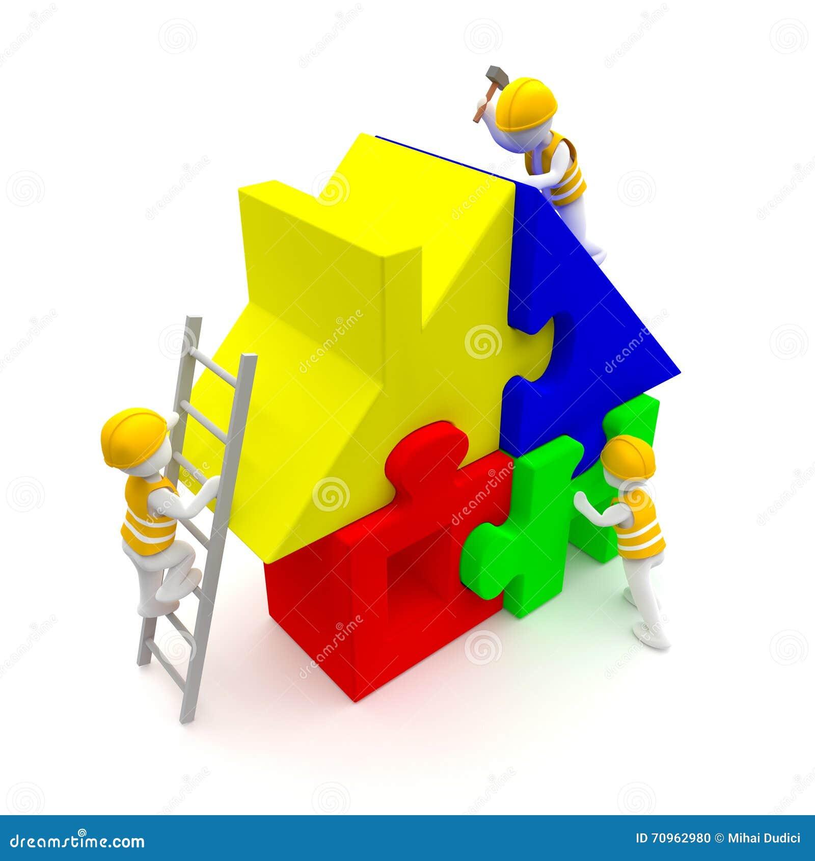 Pracownicy budują łamigłówka dom