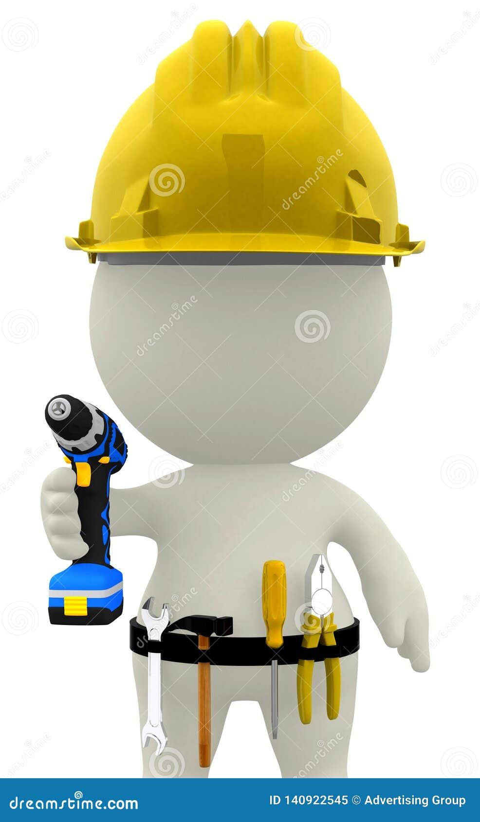 Pracownik budowlany, 3D ilustracja, 3D odpłaca się