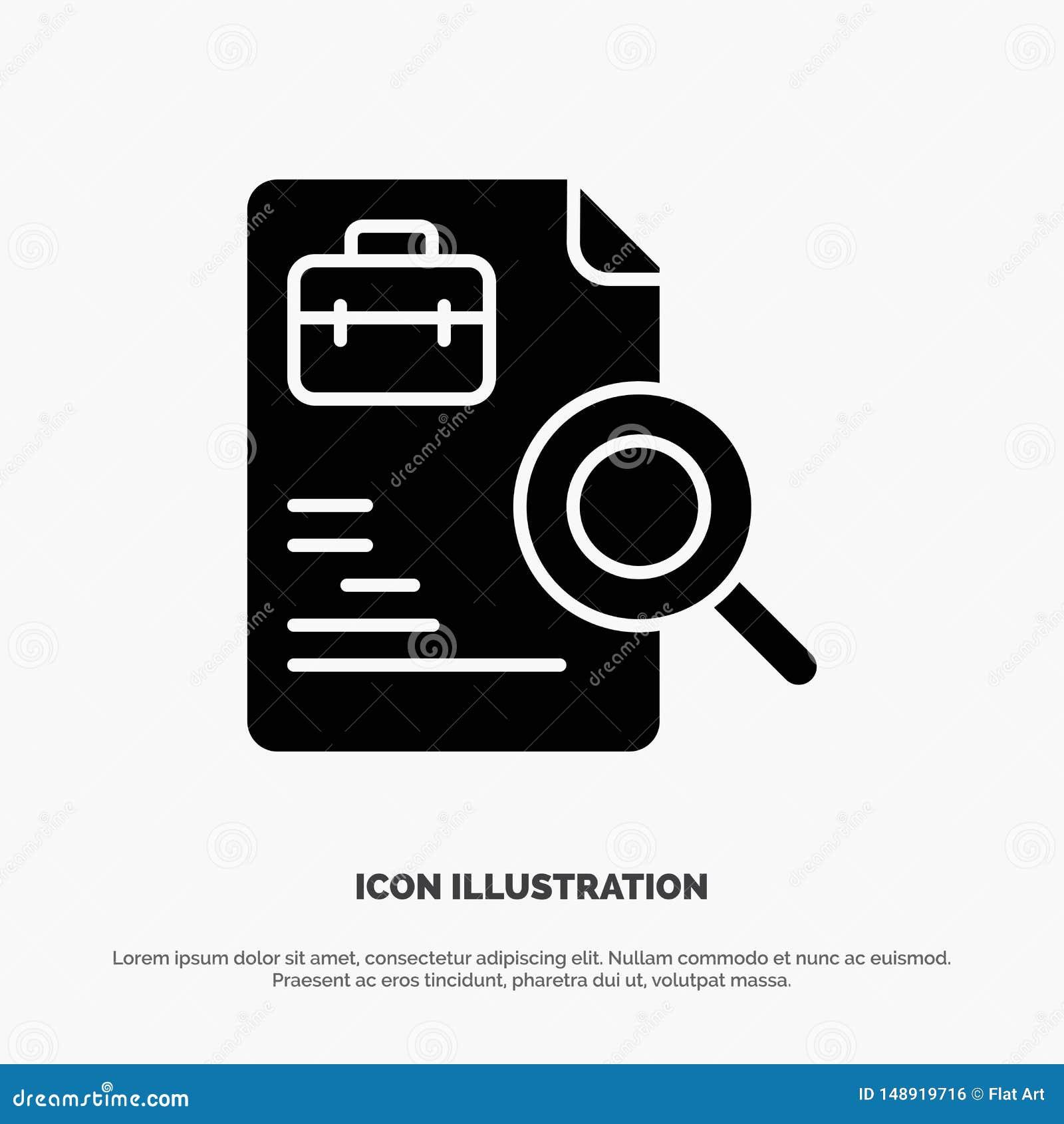 Pracownik, dokument, rewizja, praca glifu ikony stały wektor