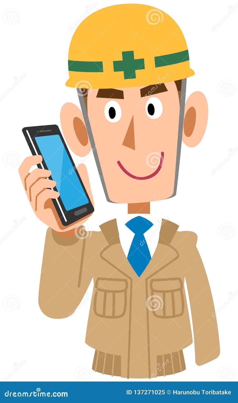 Pracownik na budowie opowiadać na telefonie komórkowym, beżowi prac ubrania