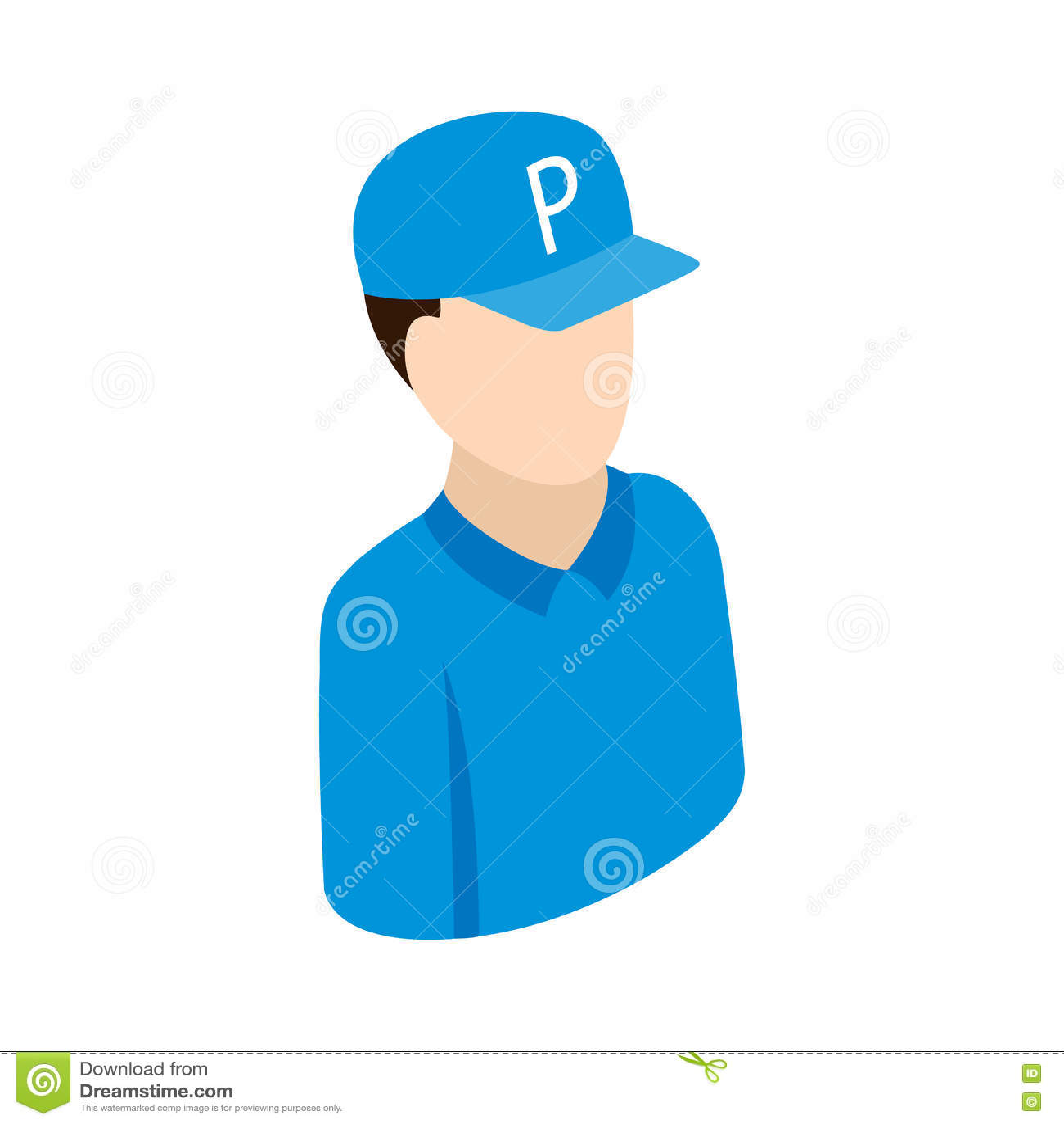 Pracownik na parking ikonie, isometric 3d styl