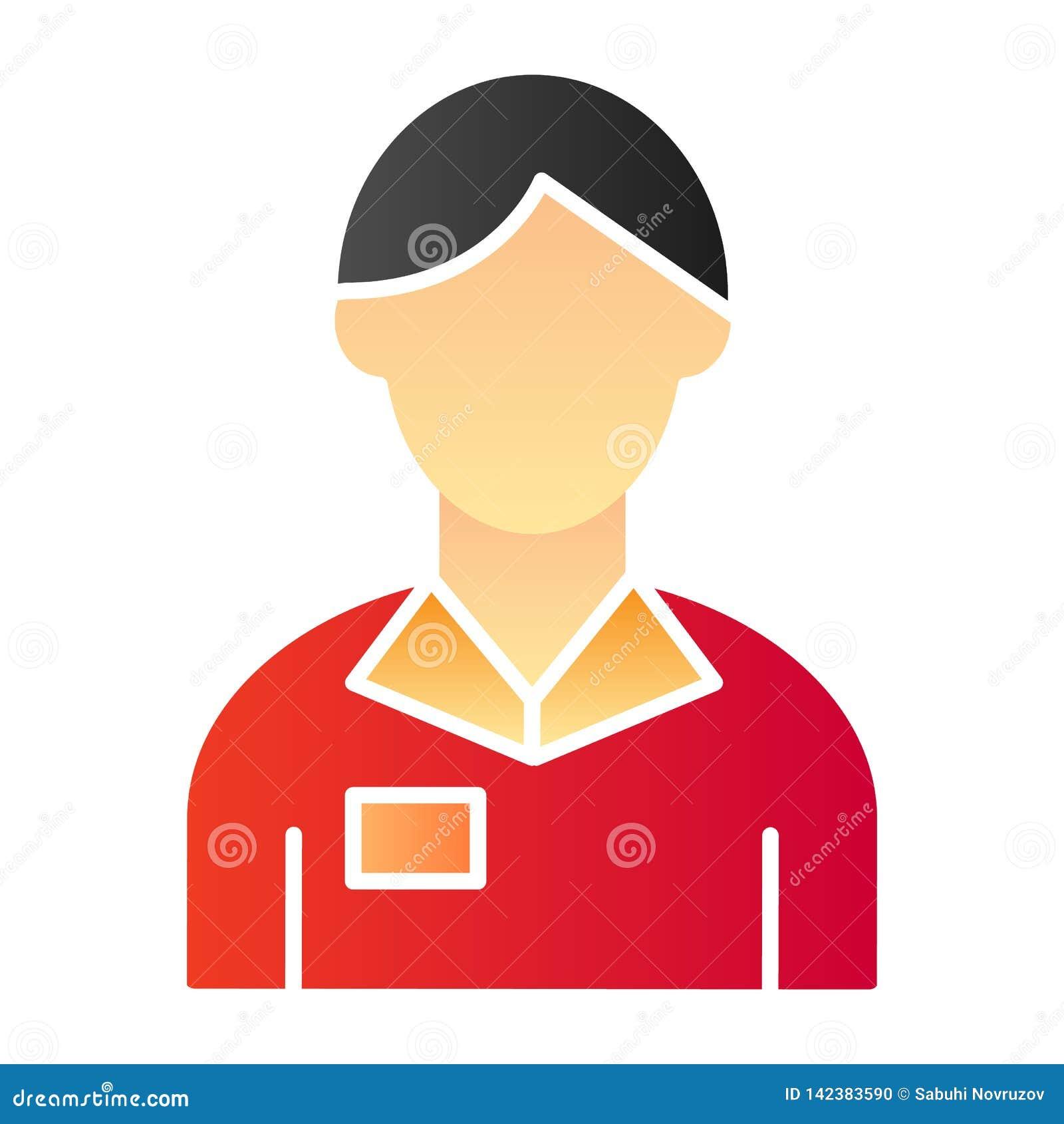 Pracownika mężczyzny mieszkania ikona Bankowa koloru ikony w modnym mieszkanie stylu Obrachunkowego kierownika gradientu stylu pr