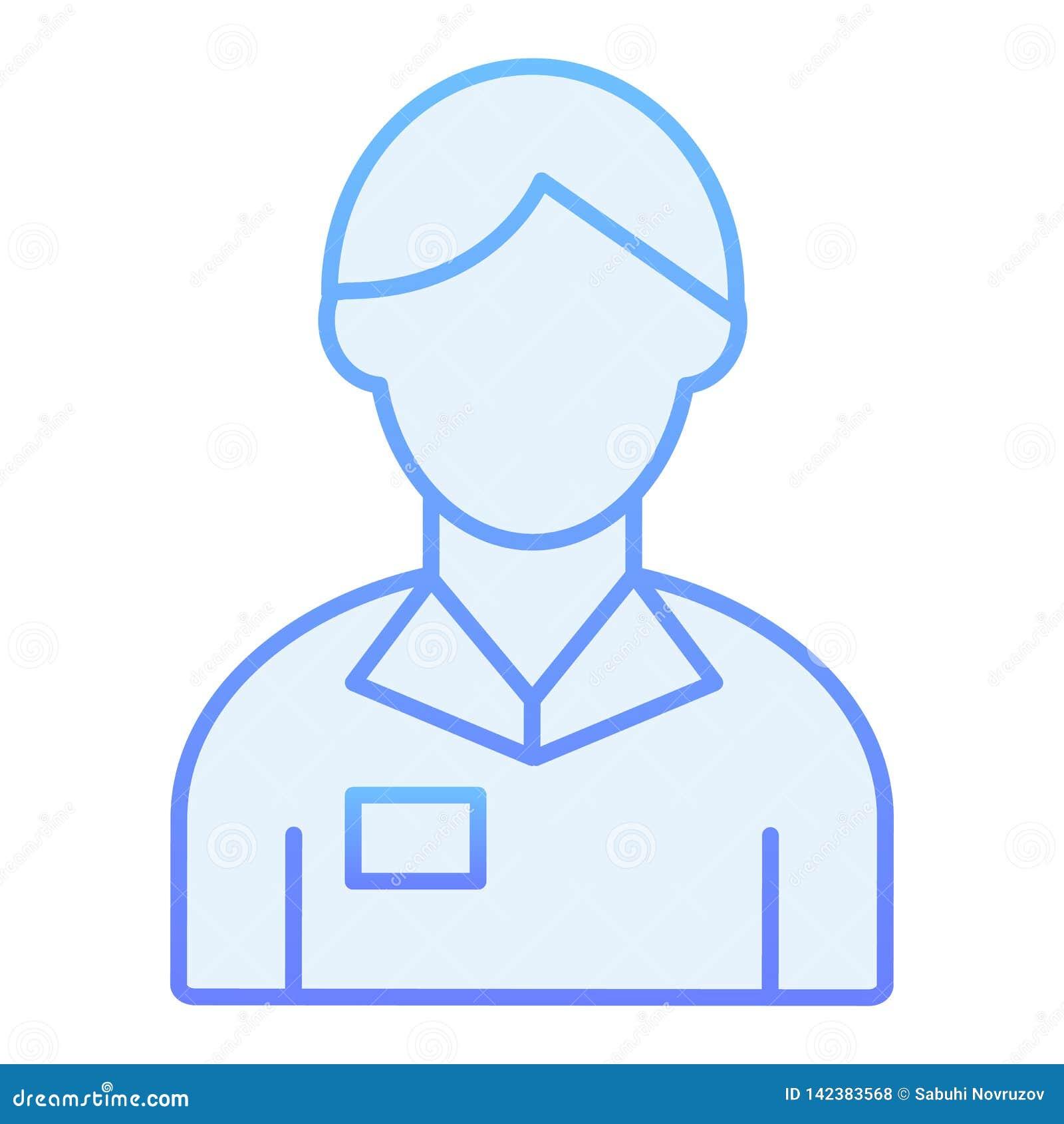 Pracownika mężczyzny mieszkania ikona Bankowiec błękitne ikony w modnym mieszkanie stylu Obrachunkowego kierownika gradientu styl