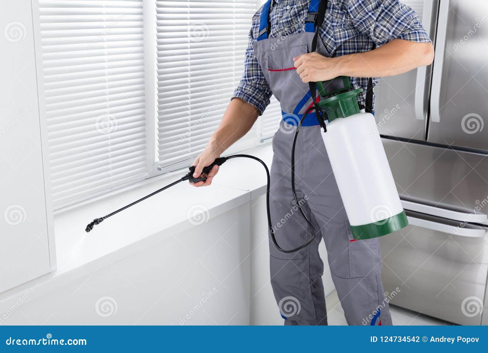 Pracownika opryskiwania flit Na Windowsill