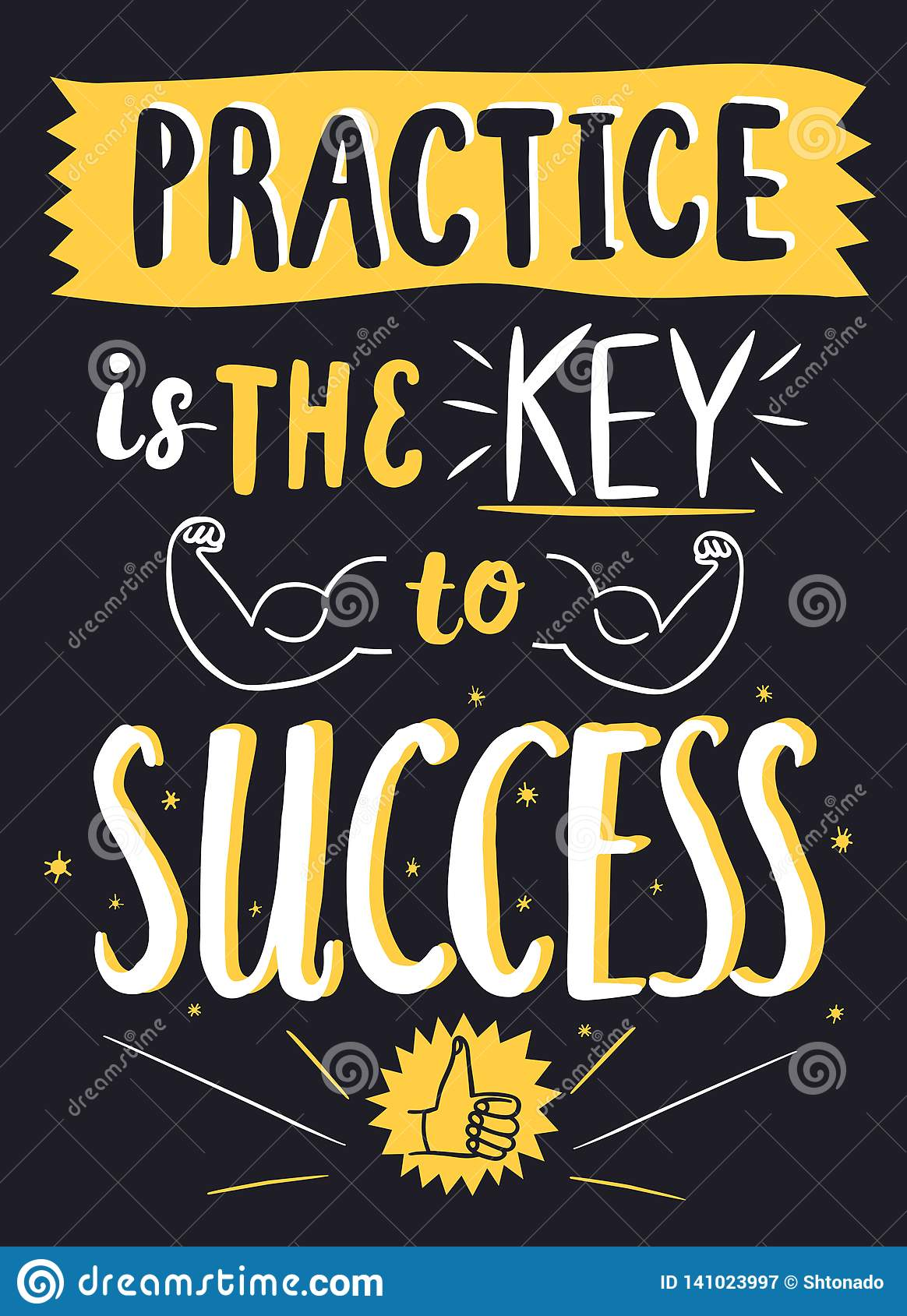 Practice Is The Key To Success Decorative Quote Stock Illustration ...