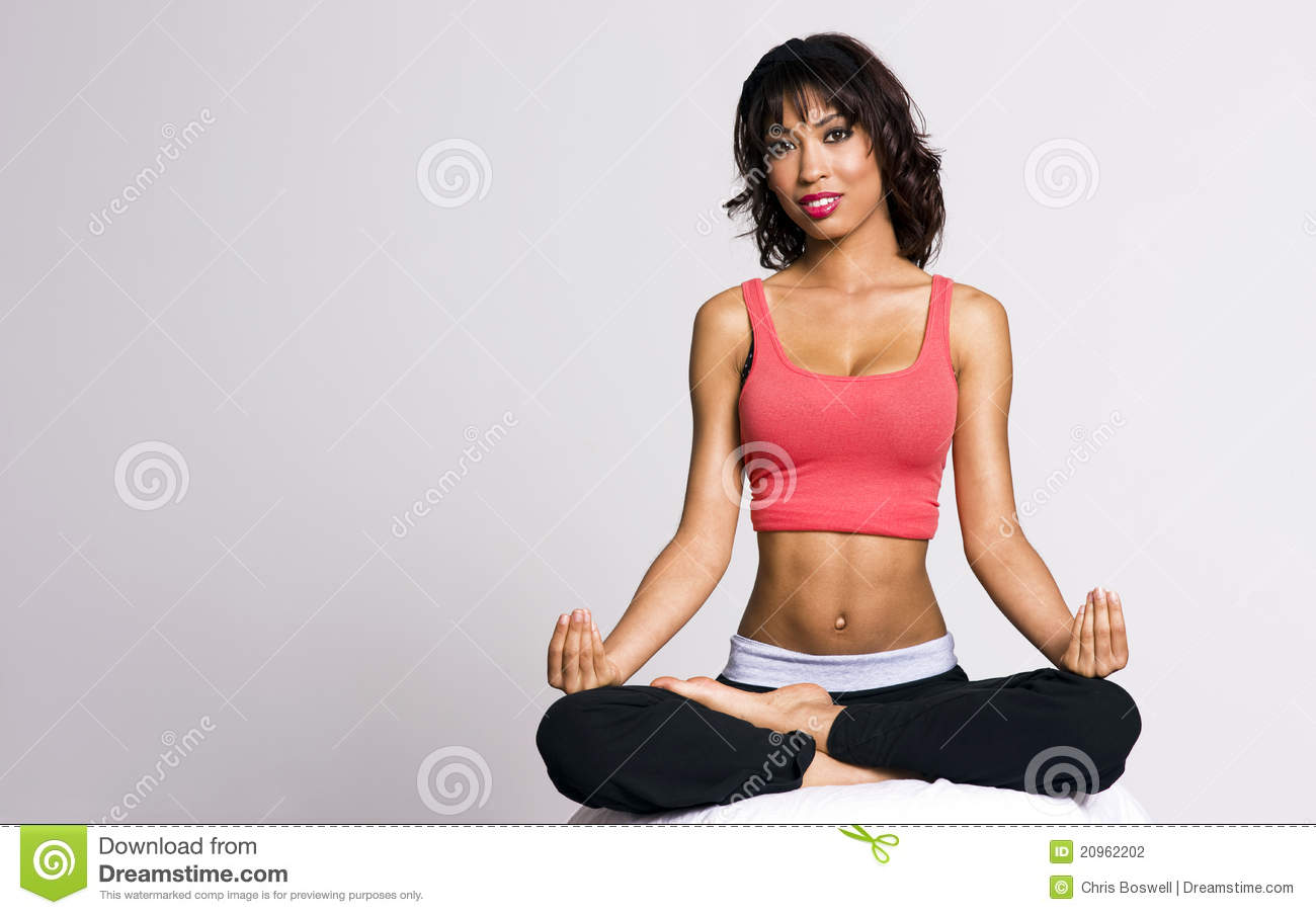 petite woman perfect figure practice yoga stock