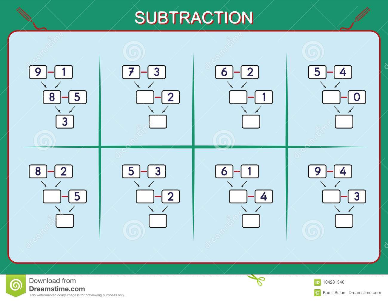 Practice Your Subtraction 0 To 10, Math Worksheet For Kids Stock ...