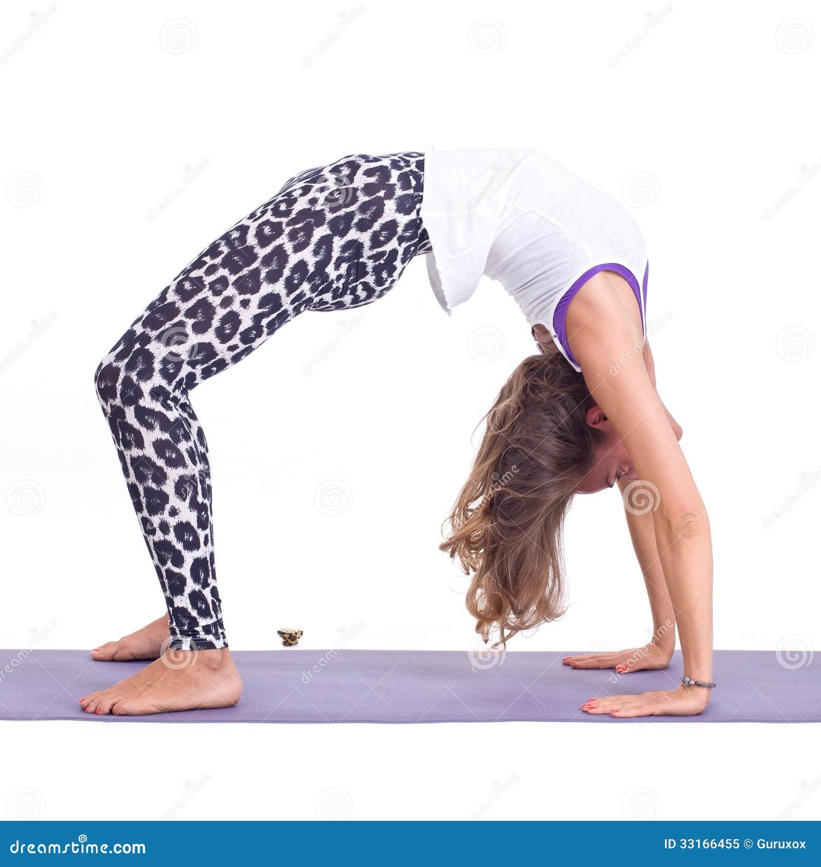Girl Doing Yoga Exercises In Studio On White Background Pose Name Bridge