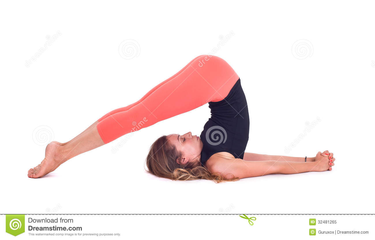 Practicing Yoga Exercises Plow Pose