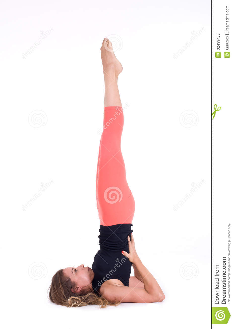 Young woman doing Yoga exercises in studio on white background. Pose ...