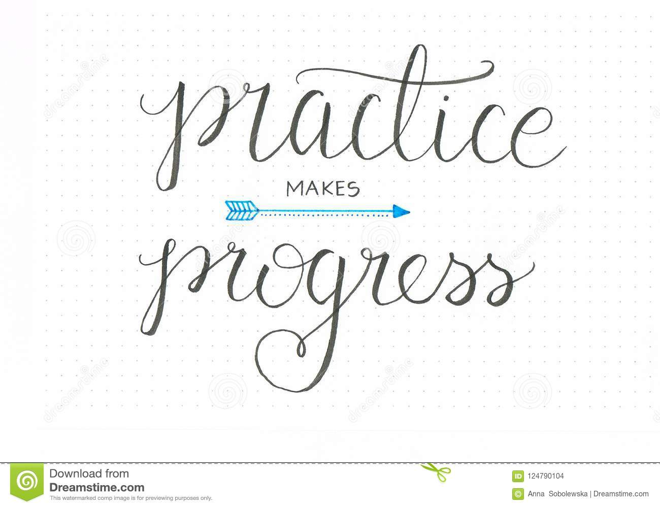 `Practise makes progress` honest hand lettering saying in black with an arrow