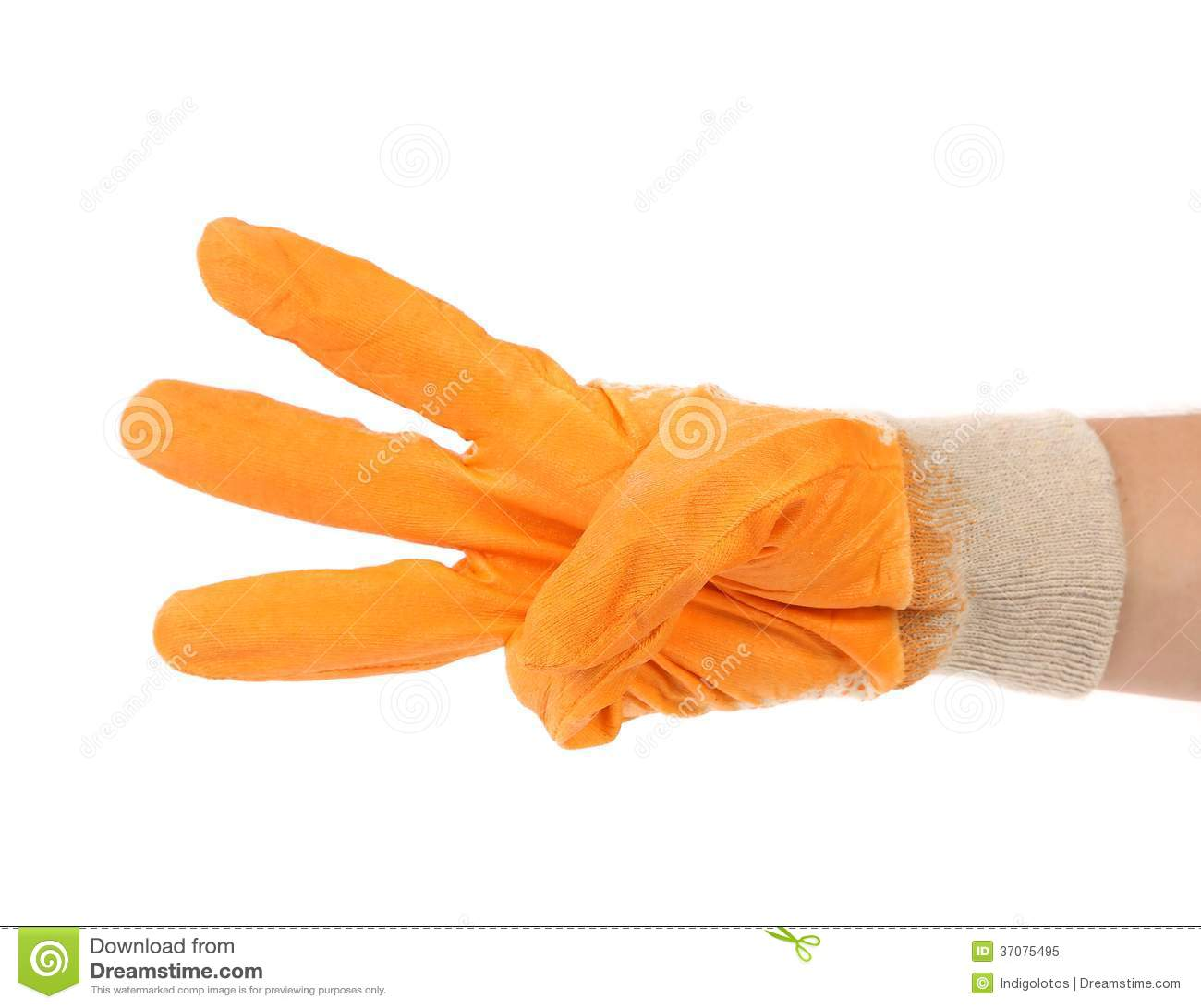 Download Pracująca Ręka W Rękawiczce Pokazuje Trzy. Obraz Stock - Obraz złożonej z medycyna, odosobniony: 37075495