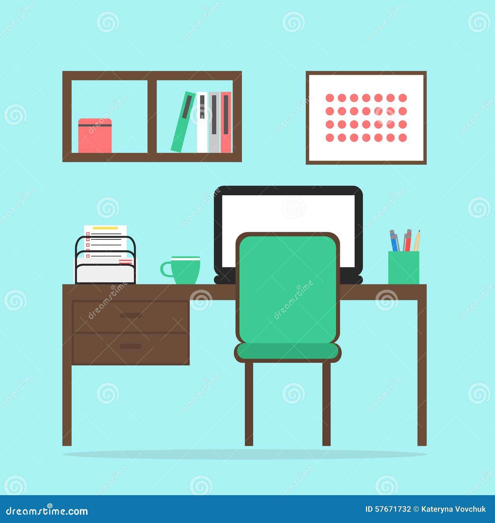 Pracującej przestrzeni wnętrze z notatnikiem, krzesłem, stołem, książkową półką i obrazkiem,