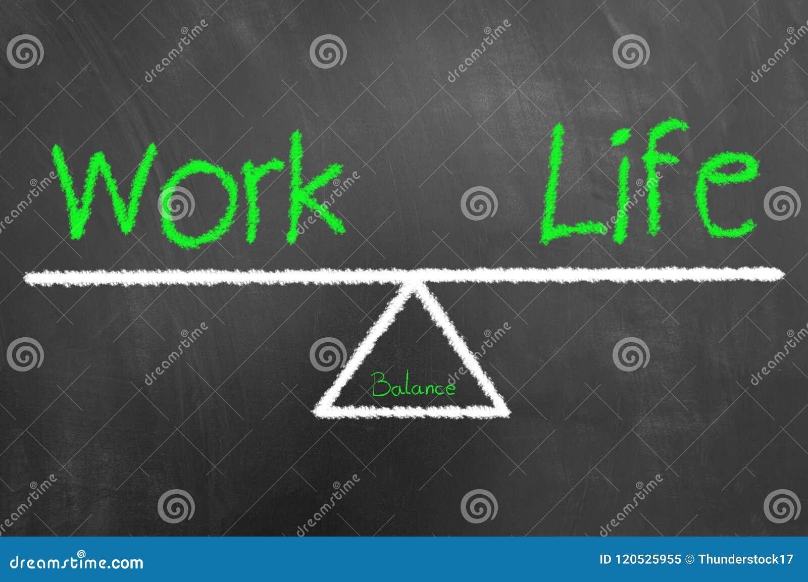 Pracy życia równowagi rysunek na, tekst i