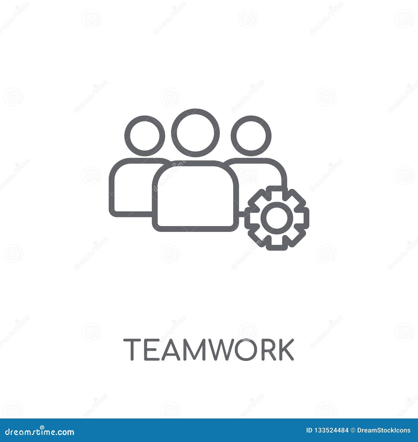 Pracy zespołowej liniowa ikona Nowożytny kontur pracy zespołowej logo pojęcie na wh