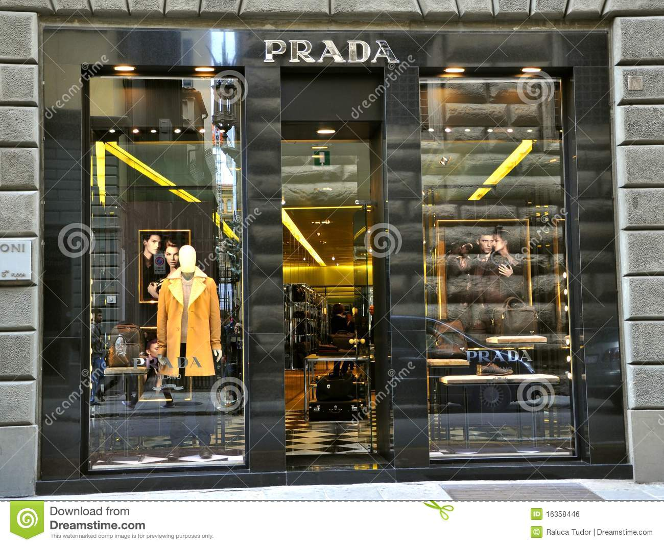prada store windows florence italy editorial photo. Black Bedroom Furniture Sets. Home Design Ideas