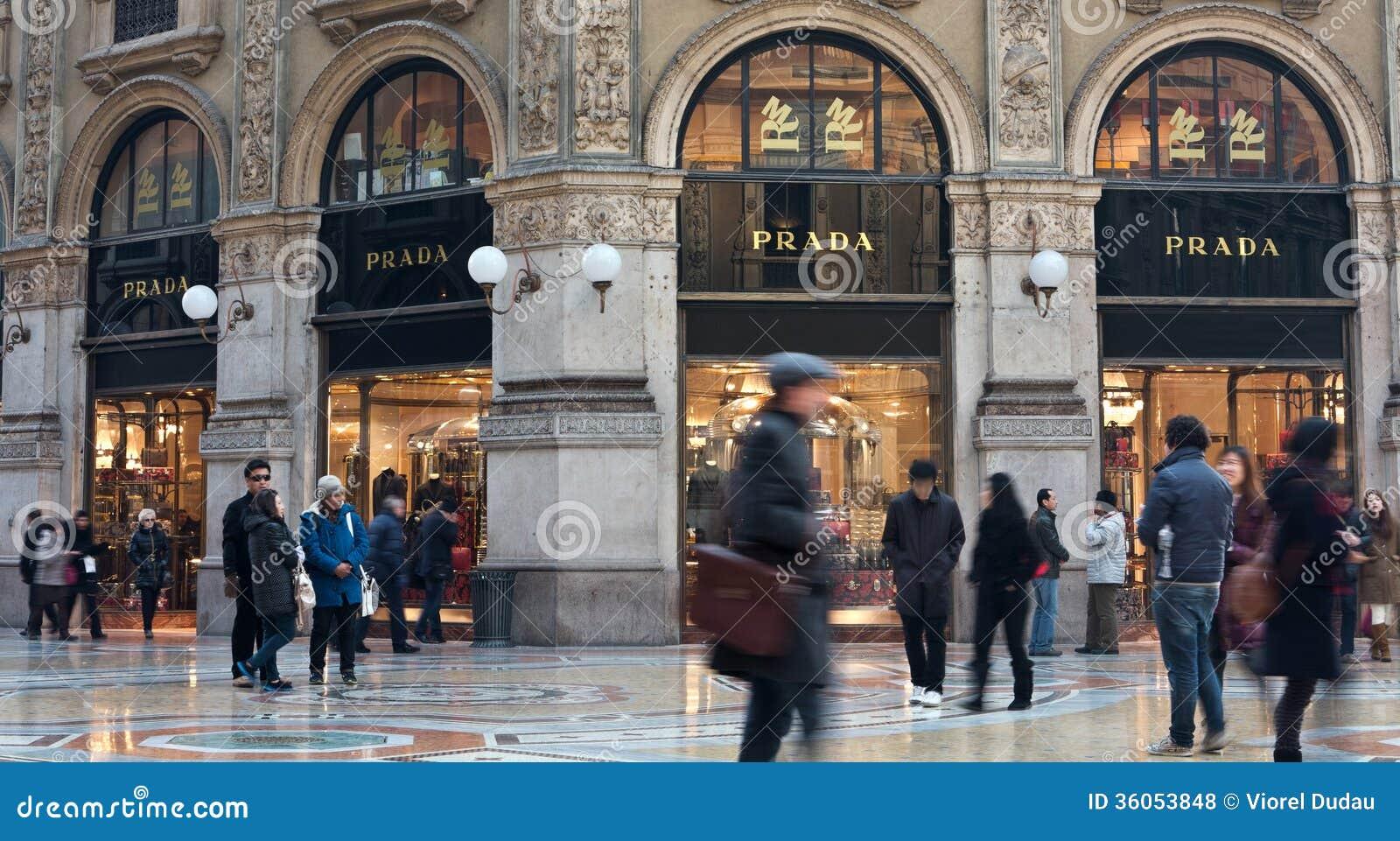 Prada shop in galleria vittorio emanuele editorial stock for Milano shop