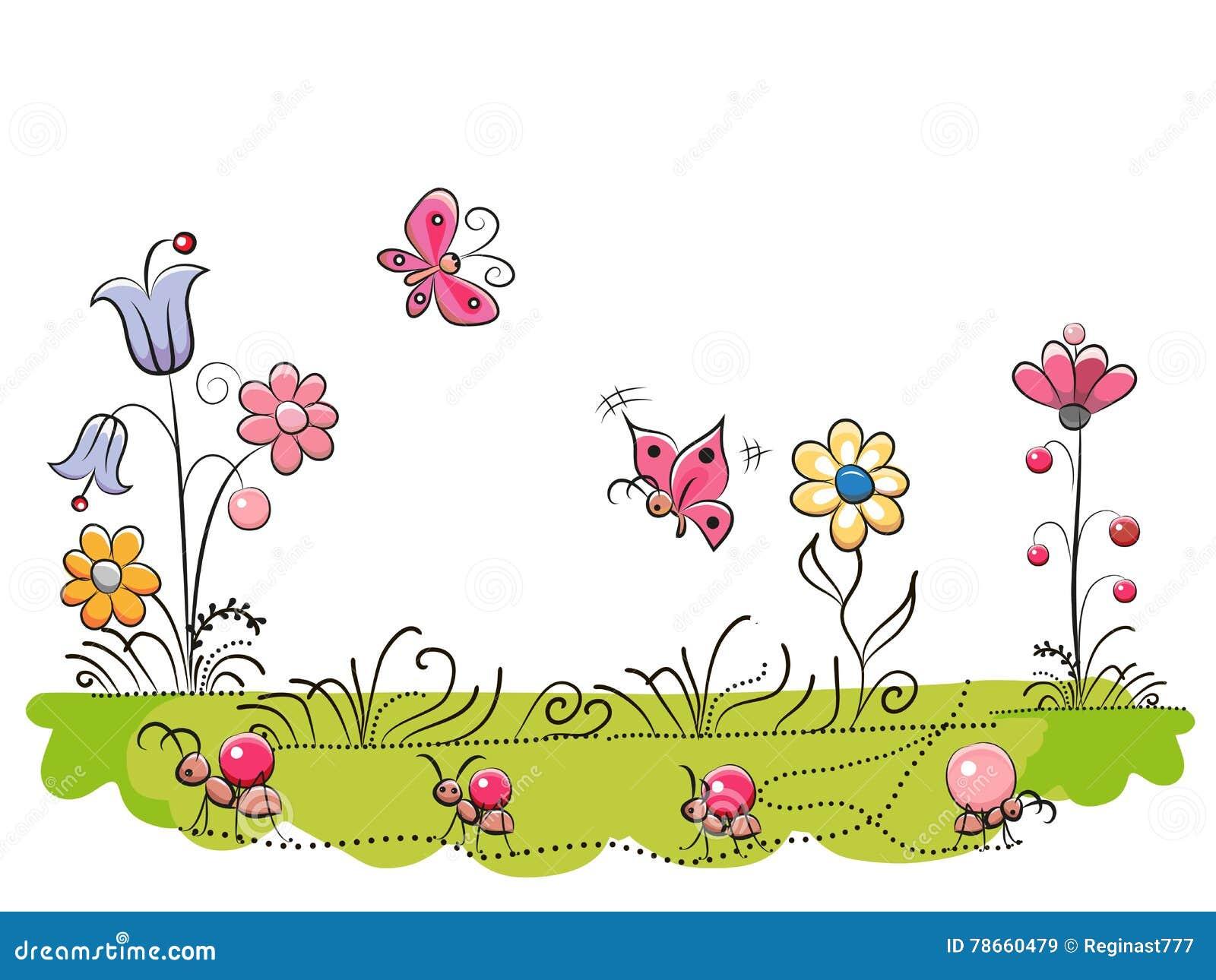 Prado com flores bonitos