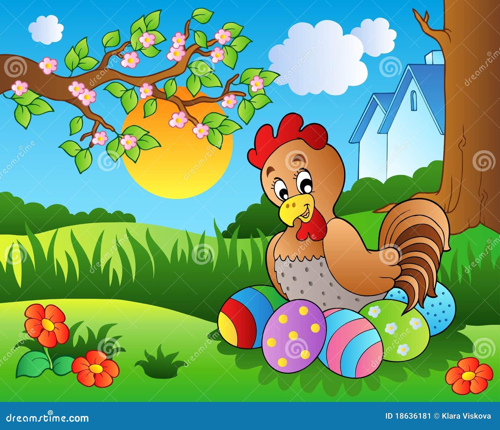 Prado con la gallina y los huevos de Pascua