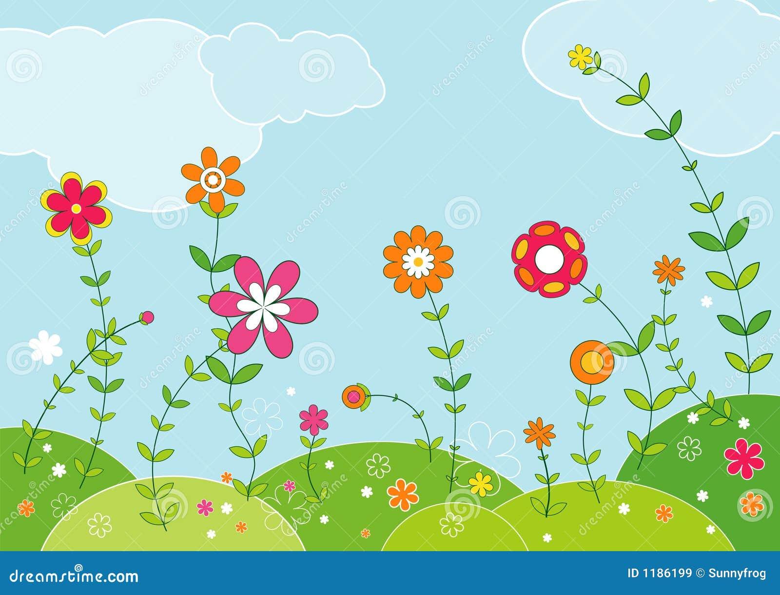 Prado de flores, vector