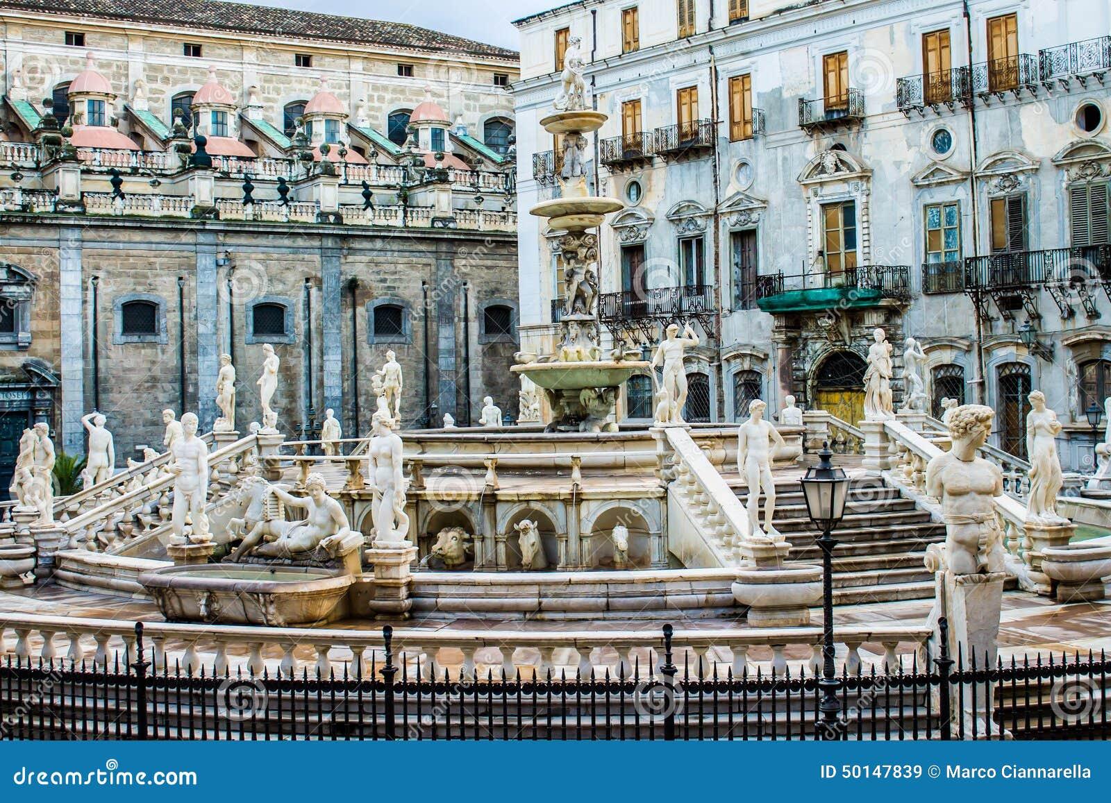 Praetoria喷泉在巴勒莫,意大利