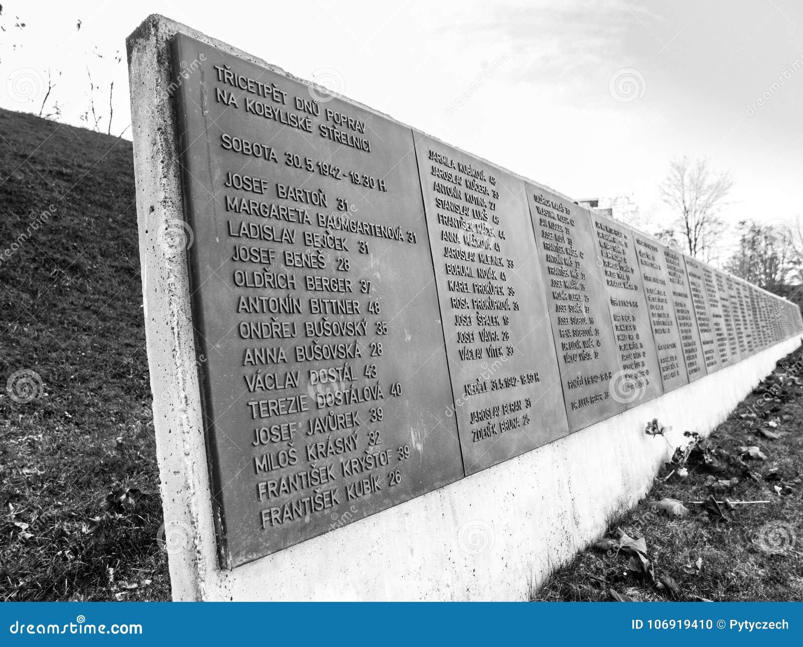 PRAGA, republika czech - GRUDZIEŃ 9, 2017: Lista ofiary w poprzednim Kobylisy Mknącym pasmie, Praga, republika czech
