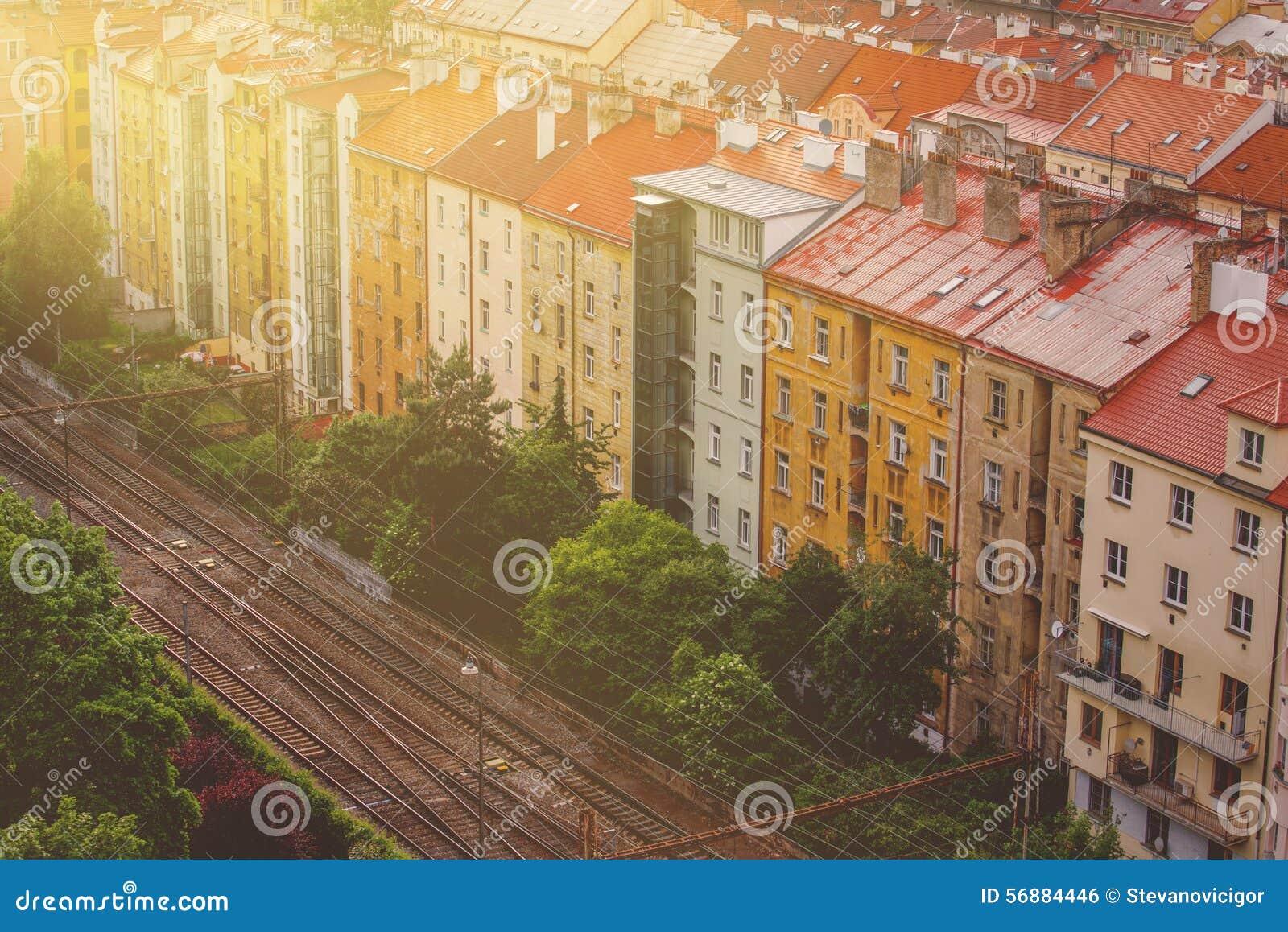 Praga, vista aerea degli edifici di Vysehrad