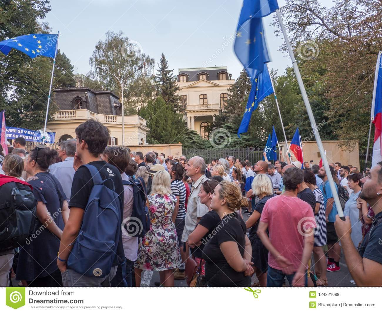 Rally of people in eve of 50th anniversary of the Warsaw Pact in