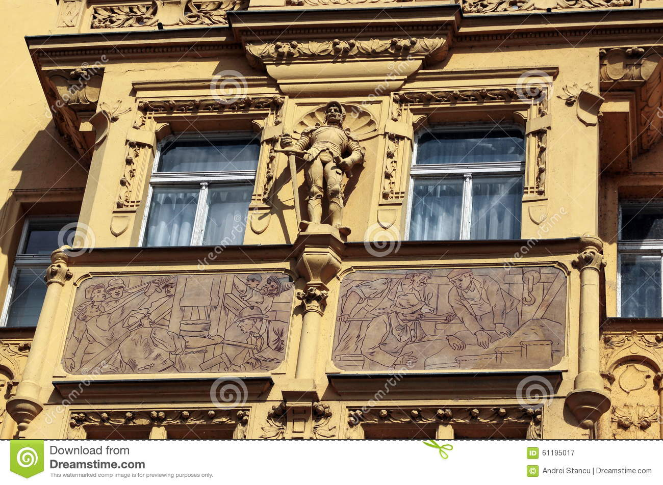 Prague baroque relief stock photo image 61195017 for Facade decoration