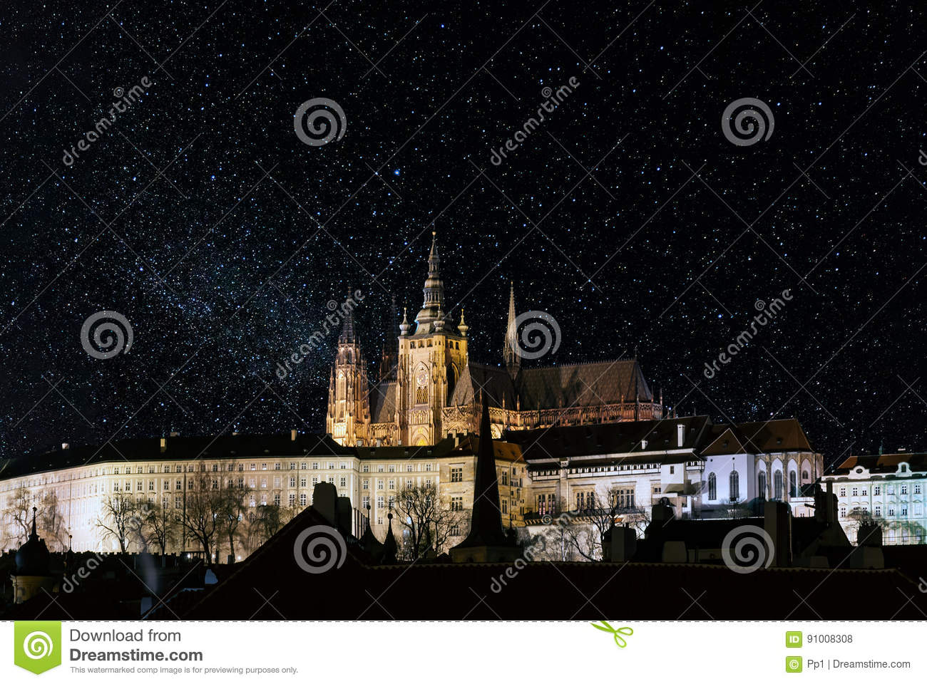 Prague castle at night, with stars filled sky